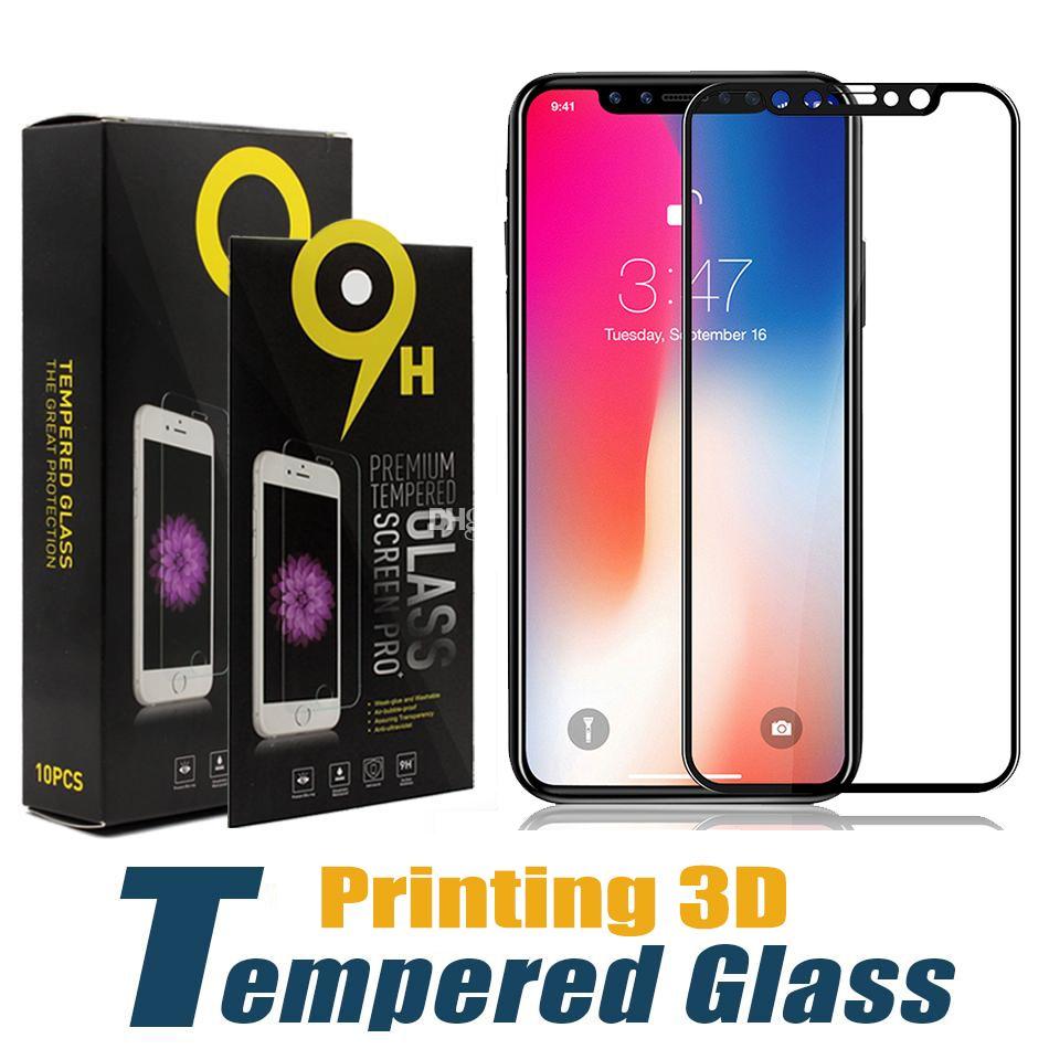 Impressão 3d protetor de tela de vidro temperado para iphone 11 pro max xs xr x 8 7 6 plus samsung m10 m20 m30 a30 a40 a60 a70 a80 a90 pacote