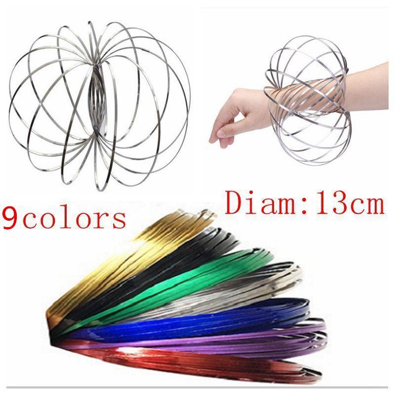 Rainbow Magic Flow Anillo Metal Increíble Juguetes Cinética Primavera Juguete Divertido Juego al aire libre Juguete inteligente Fidget Spinner CNY51