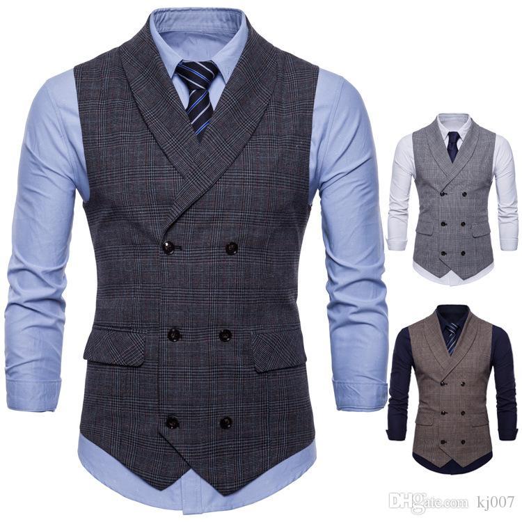 Новые жилеты двубортный отворот шеи мужчины жилеты 2018 новый стиль плед дизайнер моды жилет для мужчин повседневная формальная одежда топ рубашки человек