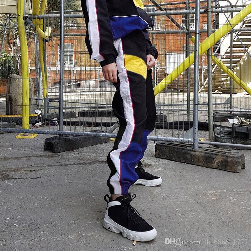 Moda cintura alta contraste da cor Jogger Calças Mulheres 2018 Verão quente Calças Lápis Streetwear Carga Harem Slacks Mulheres Sweatpants Casual