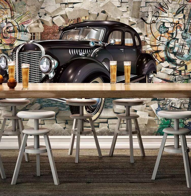 Eski model araba duvara 3D üç boyutlu restoran bar duvar duvar arka plan duvar geçer