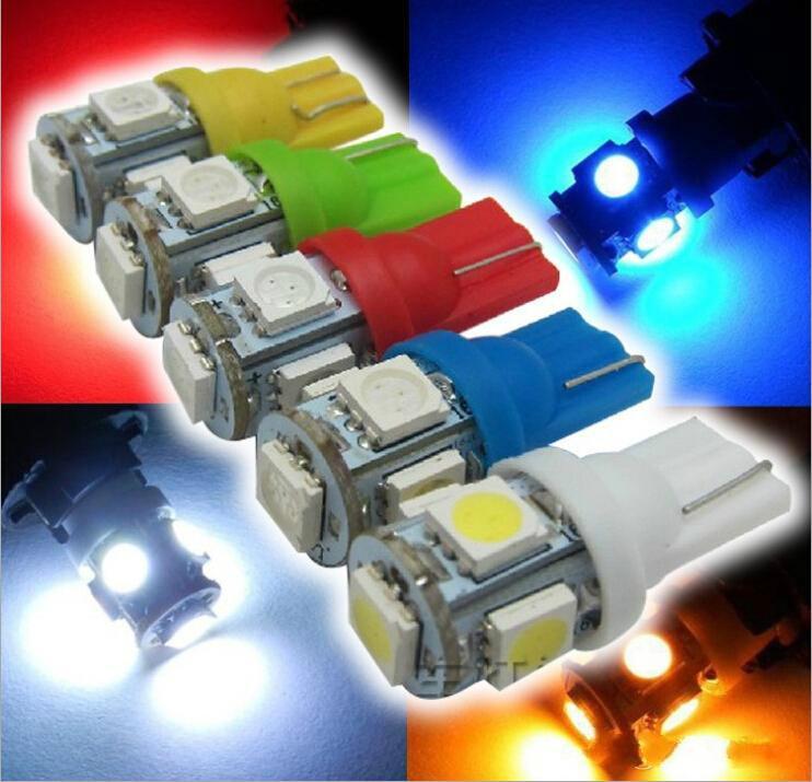 Автомобильные лампы 2019 T10 5smd 5050 194 168 2450 2921 Клин боковые фары Светодиодные автомобильные фонари для чтения желтые / красные / зеленые / синие / белые