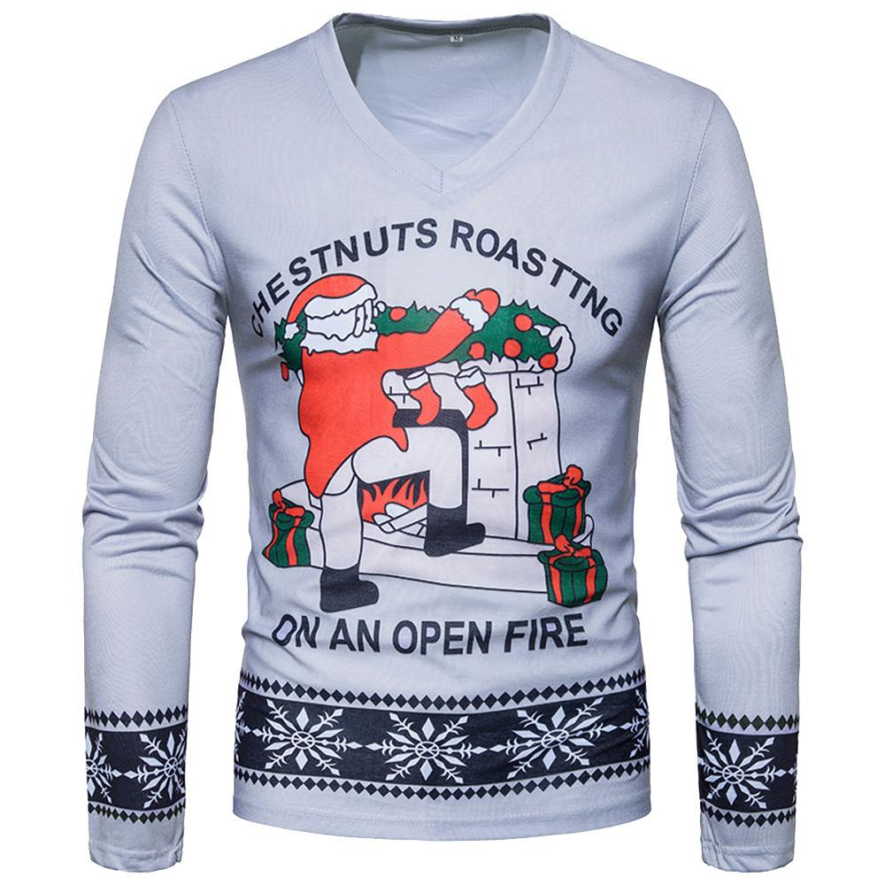 Sunfree Christmas Main Product Autumn Winter Man Casual Snowflake Print Blouse Worth Having Hot Selling Quality Pullover 3L60