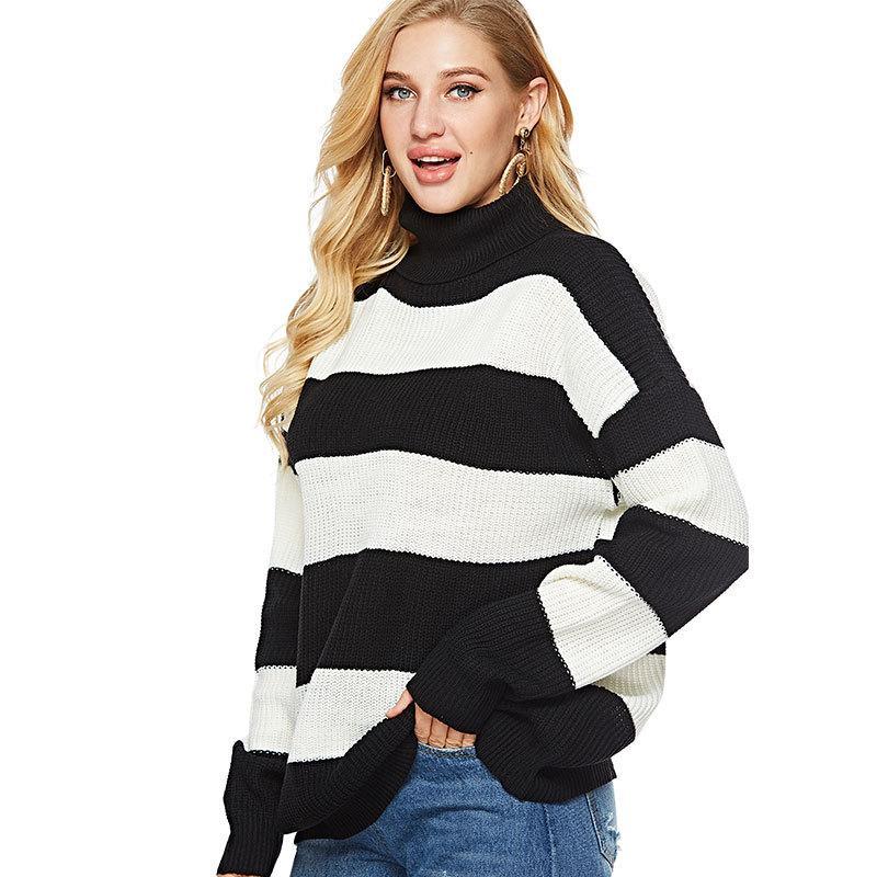 Wholesales 줄무늬 뜨개질 셔츠 여성 가을 겨울 새 스타일 대형 목에 큰 스웨터 긴 소매 니트웨어 여성용 풀오버 코트