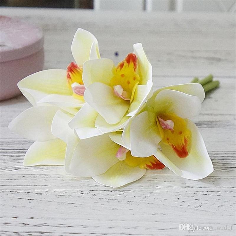 가짜 진짜 접촉 PU Cymbidium 꽃다발 결혼 결혼식 신부 꽃다발을위한 난초 사진 소품 장식적인 꽃