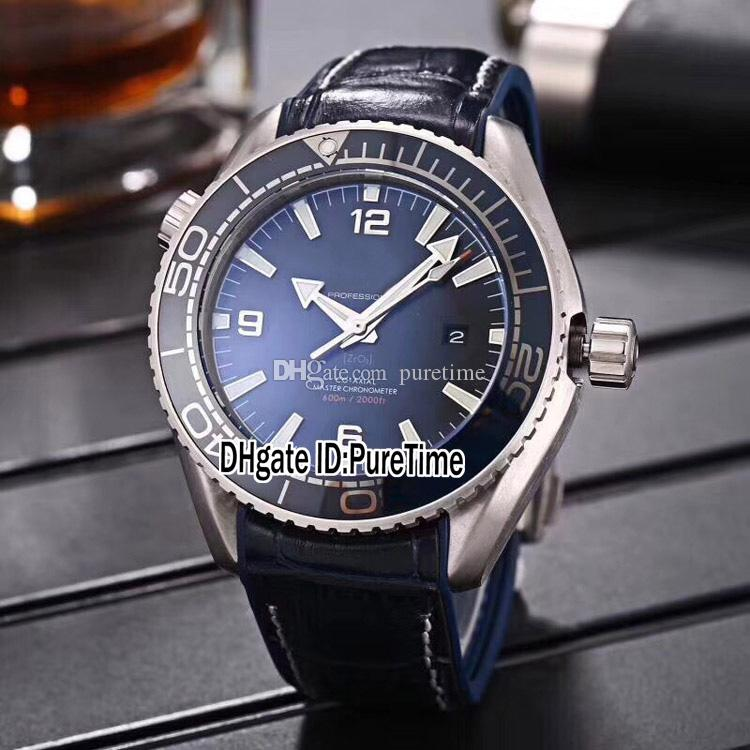 New Planet Ocean 600M 215.92.46.22.03.001 Steel Black Bezel Black Dial A2813 Automatic Mens Watch Black Leather Strap White line Watches