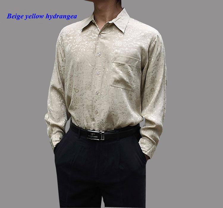 100% natural de seda masculina camisa de manga longa, 19 momme de pura camisa dos homens de seda, 100% jacquard camisa casual, camisas puras