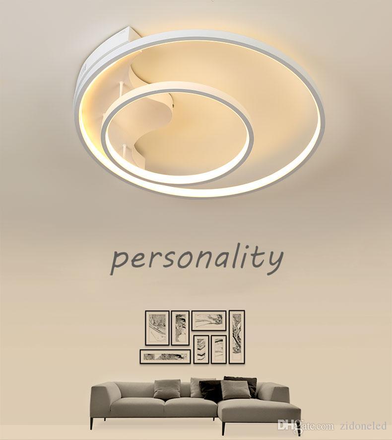Dim Modern Tavan Işık Dairesel Tavan Avizeler Salon Yatak odası Restaurant için Uzaktan Kumanda Kapalı Aydınlatma ile 2 Halkalar