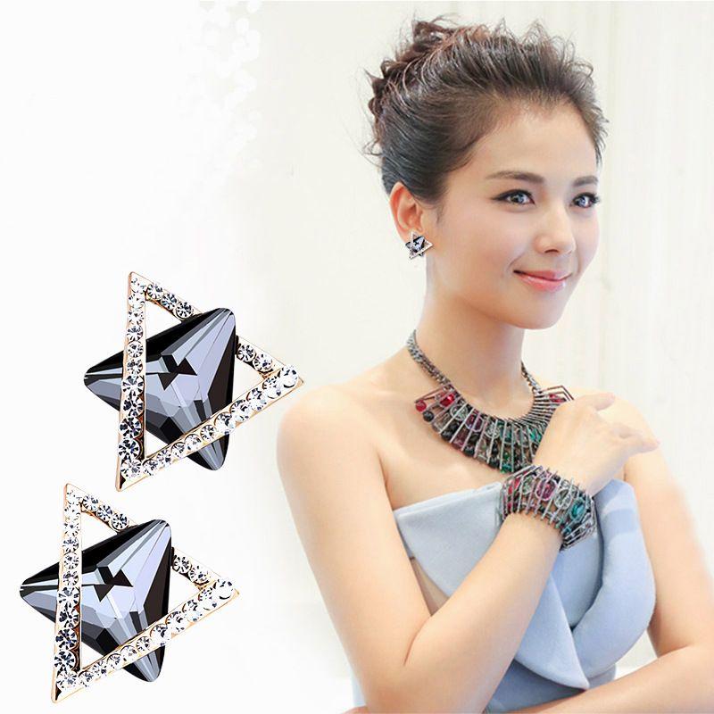 925 Ayar Gümüş 3D Katı Üçgen Geometri Damızlık Küpe Kadınlar için elmas Seçenekleri büyük Küpe Takı brincos