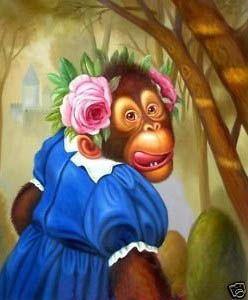 """""""Cabeza de mono con flores"""", pintura al óleo pintada a mano genuina arte animal pintura al óleo sobre lienzo tamaños múltiples disponibles, Rsh035 #"""