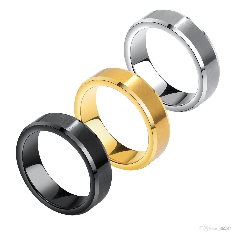 6MM Wedding Band for Men Tungsten Carbide Ring Brushed Center Comfort Fit Beveled Edge Free Engraving