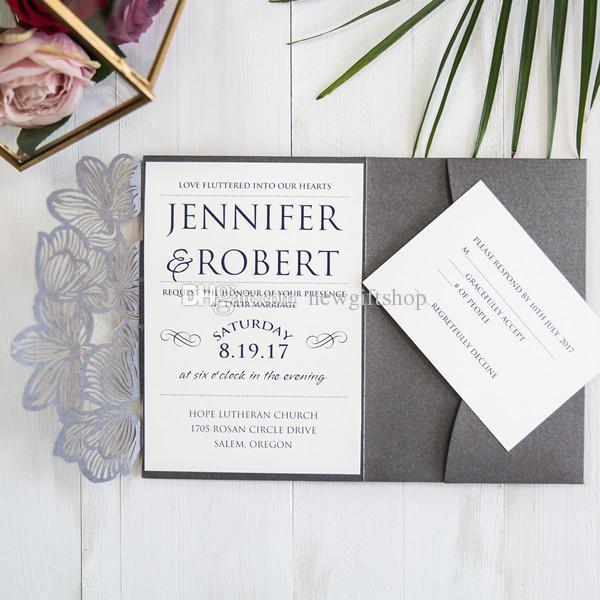 2019 رمادي الليزر قطع الدعاوى دعوة جيب الزفاف، دعوات قابلة للتخصيص مع مغلف RSVP بطاقة الطباعة الحرة شحنها بواسطة DHL