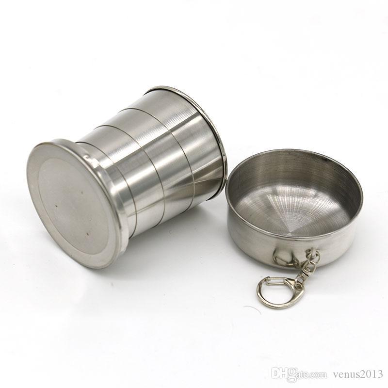 Nouvelle tasse pliante 240 ml en acier inoxydable Portable Voyage en plein air de camping pliant tasses pliantes en métal télescopique porte-clés tasses