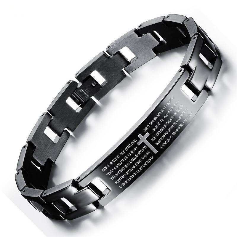 Господь молитва распятие браслеты для мужчин Оптовая черный титан стали браслет Мужские браслеты с заводской цене