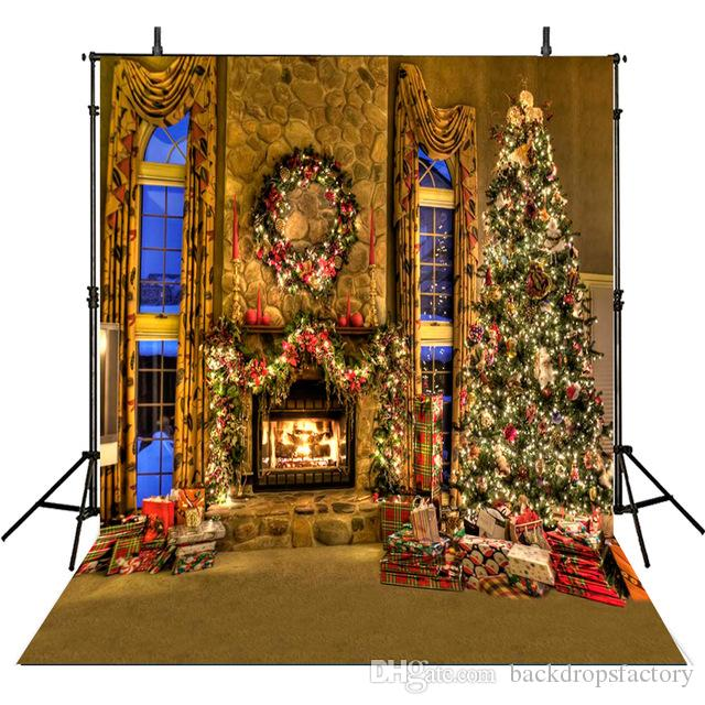 DaShan 14x10ft Christmas Fireplace Living Room Backdrop Tree Fireplace Rustic Christmas Wall Decor Xmas Photography Background New Year Home Christmas Family Winter Holiday YouTube PhotoProp