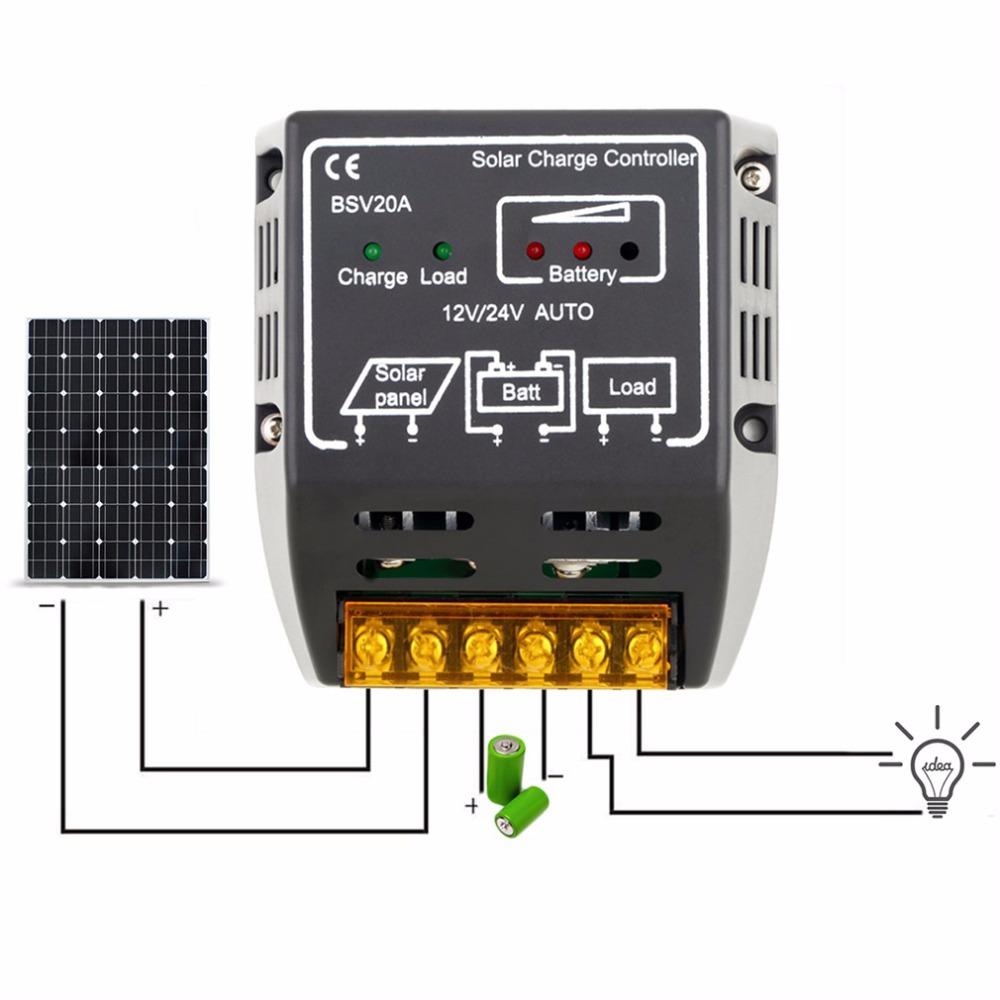20 A controlador de carga solar 12 V 24 V CC regulador de panel solar