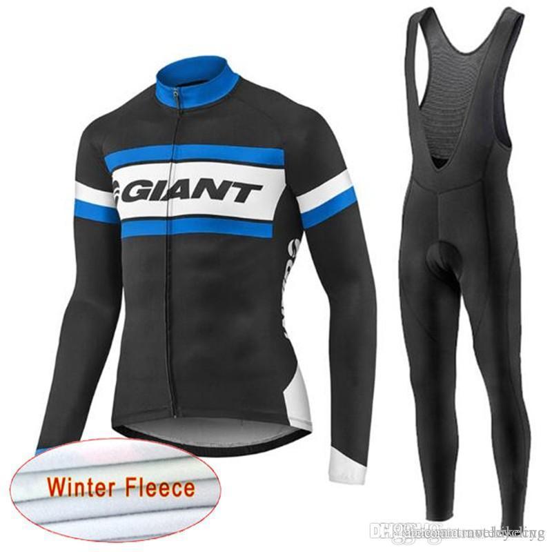 GIANT team مجموعة الدراجات الشتوية الصوف الحراري جيرسي (bib) أطقم ملابس رياضية طويلة الأكمام أطقم الدراجات للرجال يرتدون ملابس C1210