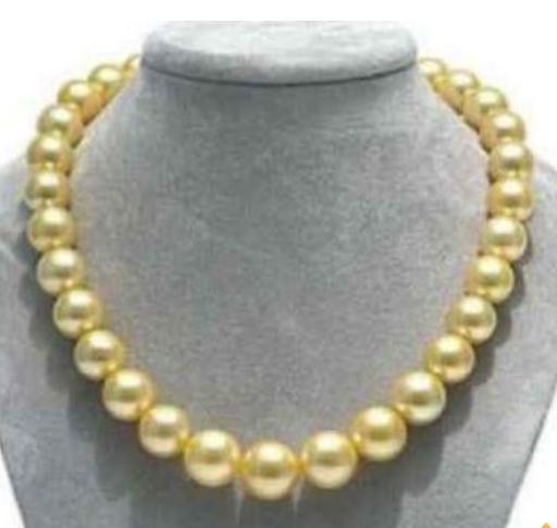 Mizin 10-11mm Doğal South Seas Altın İnci Kolye 17inch 14k altın toka