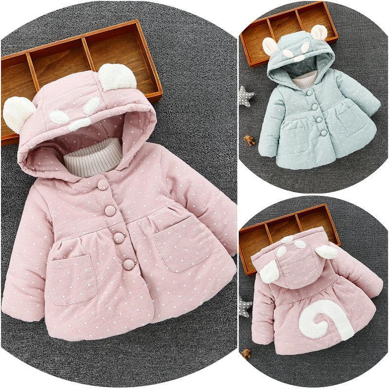 الوردي مقنع معطف الشتاء الدافئة الطفل معطف الشتاء التوائم الملابس طفل للبنات في فصل الشتاء سترة طفل 6-36 شهر
