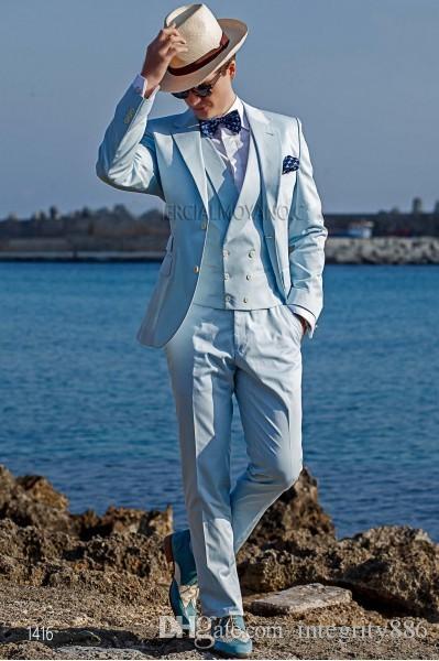 Lekki Bluethree Piece Groom Tuxedos Dwa Przycisk Slim Fit Man Wedding Garnitur Przystojny Mężczyźni Business Dinner Prom Blazer (Kurtka + spodnie + krawat + kamizelka) 410