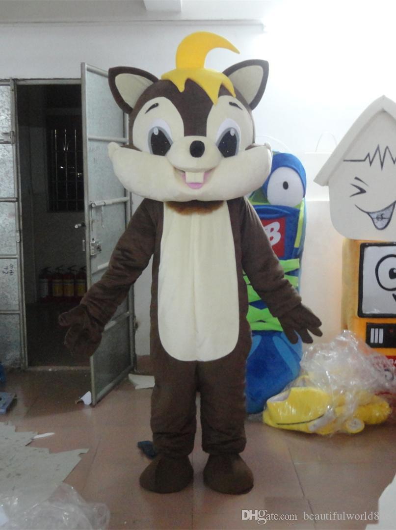 2018 Yüksek kalite sıcak Kahverengi Sincap Parti Kostüm noel Sincap Maskot Kıyafet Cadılar Bayramı Chirastmas Parti Fantezi Elbise Maskot Kostümleri