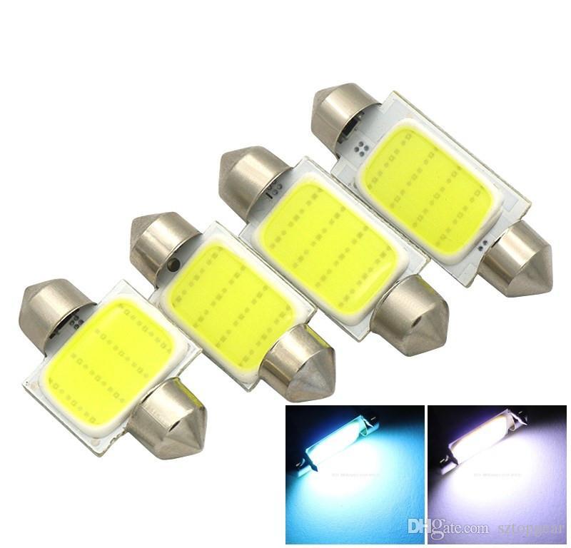 LED COB Ampuller 31mm 36mm 39mm 41mm İç Işık 12 SMD Okuma Dome Festoon Plaka Gövde Lamba Beyaz / Buz Mavi 12 V