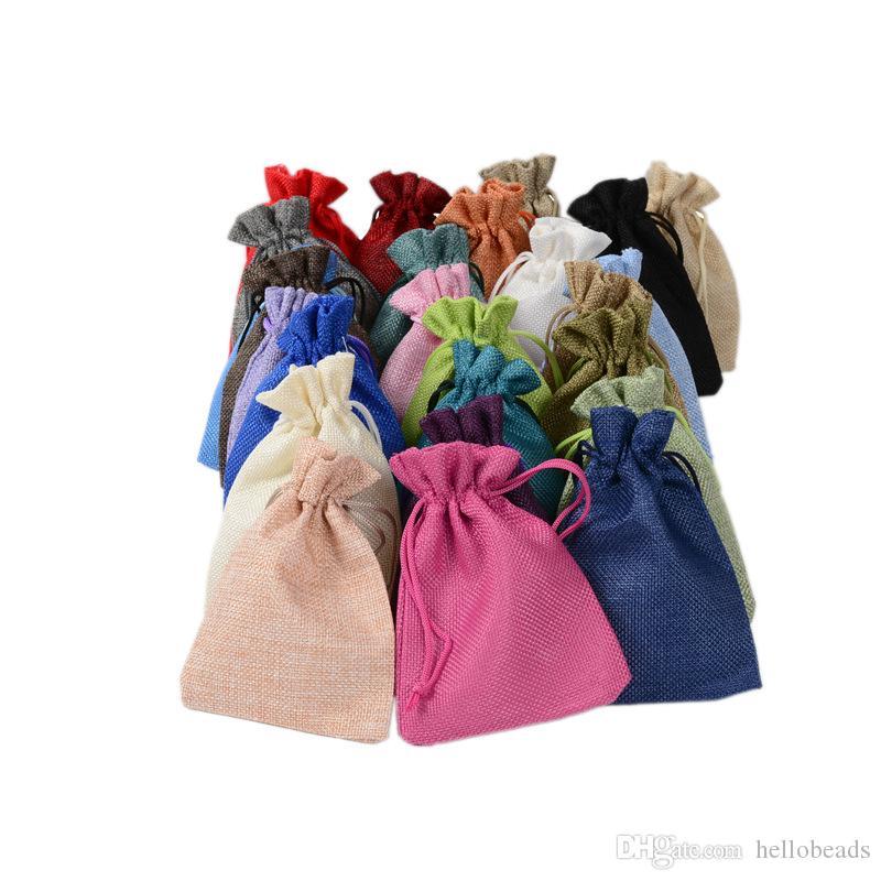 7x9cm 9x12cm 10x15cm 13x18cm colores multi mini bolsa de yute bolsa de tela de cáñamo joyería regalo bolsa de cordón los bolsos para los favores de bodas, granos
