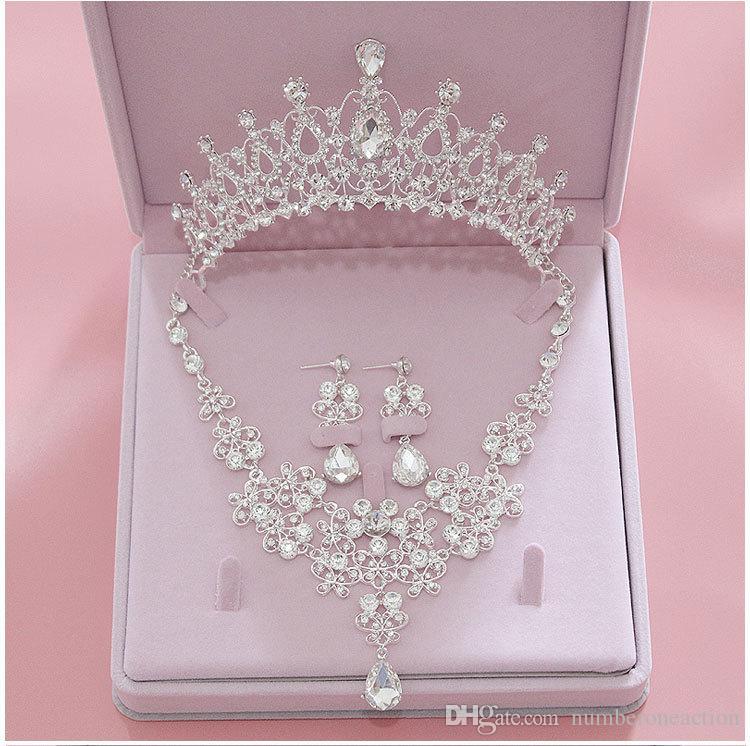 Kristall Strass Brautschmuck Sets Neue Hochzeit Halskette Ohrringe Tiaras Crown Sets Für Frauen Bräute Schmuck
