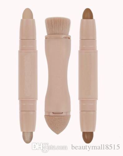 Toptan Güzellik Kontur Vurgulayıcı Sticks 2 1 Çift Sonlandırılmış Krem Kapatıcı Vurgulama Çubuk Makyaj Seti + Bronzlaşmış Puf Fırçası Kaynağı Ücretsiz Shiping