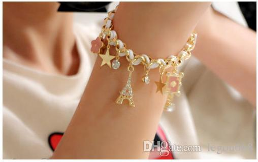 Estrella de la moda coreana flor de la corona de la cuerda de cuero de la cuerda corona Pulsera Tobillera