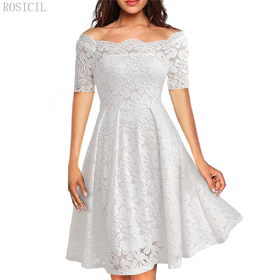 ROSICIL летняя вышивка сексуальные женщины кружева с плеча платья с коротким рукавом повседневная вечерняя вечеринка линия вечернее платье MF5321
