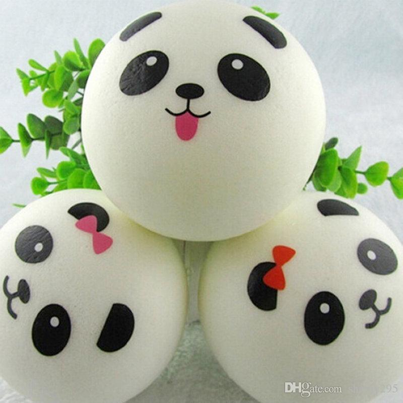 New 10cm Kawaii Jumbo Soft Squishy Panda Buns Bread Bag Cell Phone Strap Cute Animal Panda Charm Random Pattern free shipping 2018 new hot