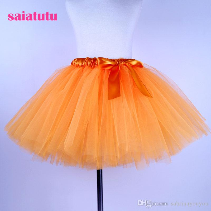 2018 NEW orange tulle kids children toddler baby costume ball gown party dance wedding short pettiskirt tutu girl skirt