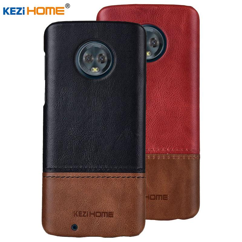 wholesale for Motorola Moto G6 Plus KEZiHOME Luxury Hit Color Genuine Leather Hard Back Cover capa For Moto G6 Phone cases