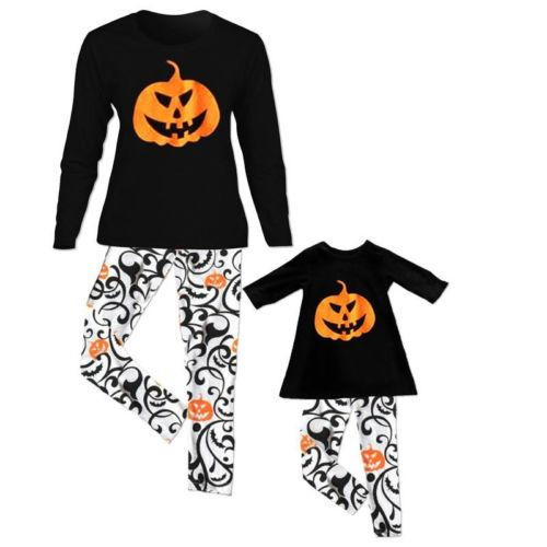 PUDCOCO Matching Mother and Daughter Couple Clothes Mommy Me Tops Pants Family Halloween casual Suits