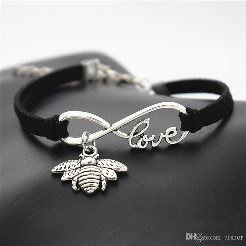 Handgemachte Mehrschichtige Schwarz Geflochtenes Leder und Wildleder Charm-Armband-Armbänder für Frauen-Mann Unendlich Liebe Biene Anhänger-Charme-Quote Schmuck Geschenke