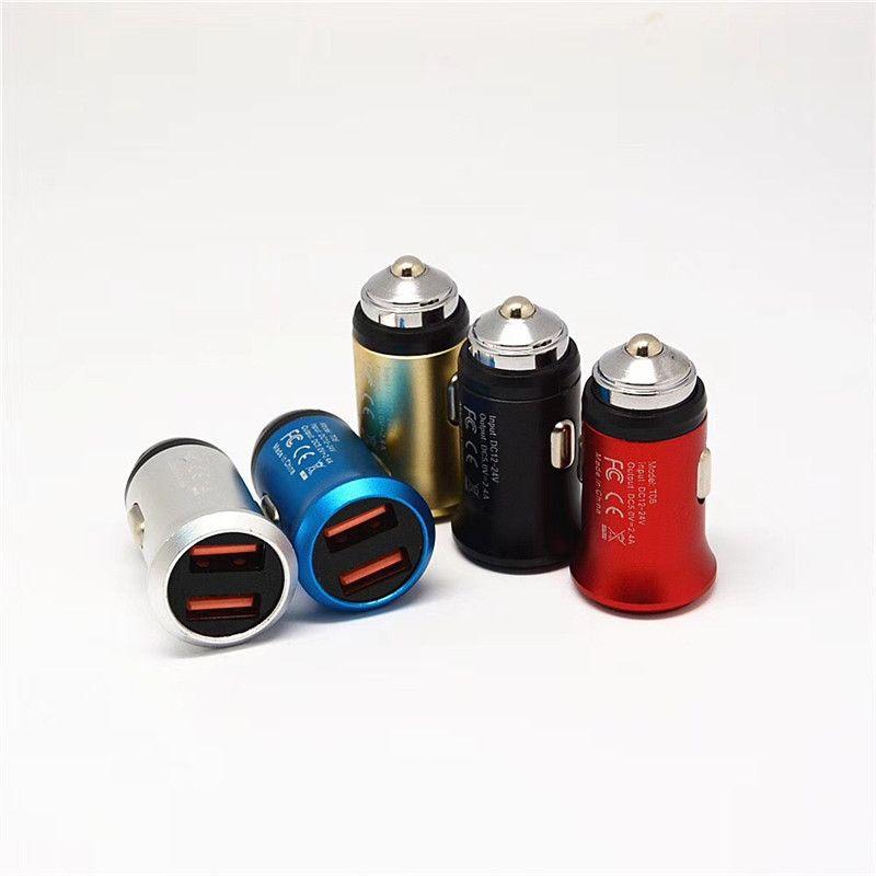 Mini Safety Hammer Автомобильное зарядное устройство Dual USB порт Мобильный телефон Автомобильный прикуриватель 2.1A 1A Универсальное автомобильное зарядное устройство