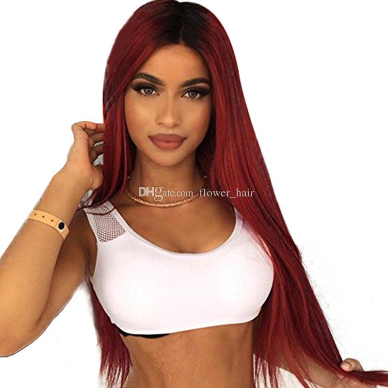 Rote Farbe Menschliches echtes Haar Volle Spitze Perücke Ombre Farbe Brasilianische Gerade Remy Haar Volle Spitze Perücke Natürliche Haarlinie Baby Haare