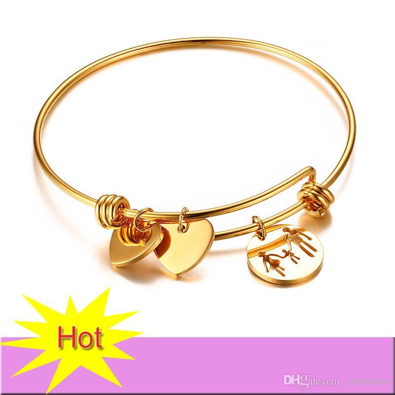 Nouveau En Acier Inoxydable Femmes Bracelets Réglable Bracelet De Charme De Haute Qualité Plaqué Or Avec Coeur Charmes Bracelet Pour Les Femmes