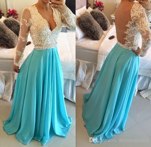 2018 Evening Dresses with Glamorous Deep V Neck Beaded Lace Applique Long Sleeve Illusion Back vestido longo Prom Gowns