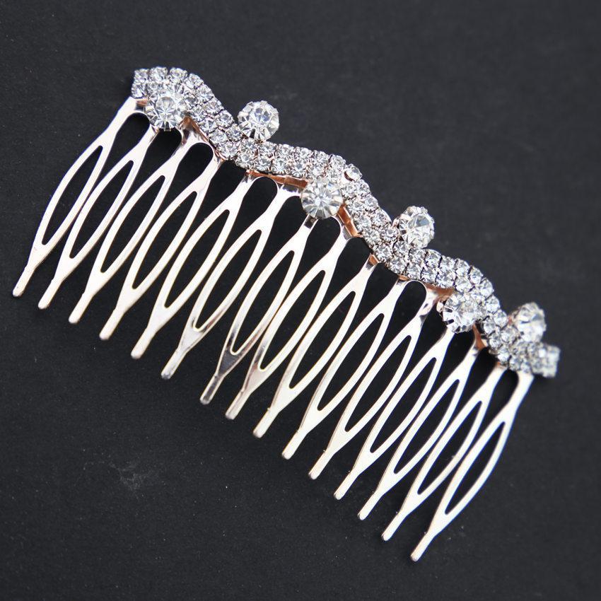 Exquisite weibliche Diamant eingelegter Pearl-Bogenhaarkamm, Legierungskammkammern-Kämpfer-Geschenke Blumenbraut