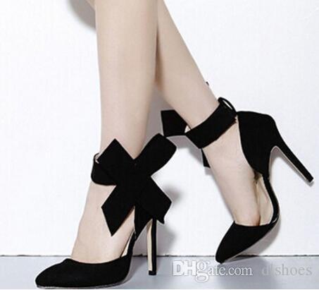 Hübsches Mädchen Knöchel Pumps spitz Zehen große Bowknot Strap Wildleder Leder High Heels Headline-ergreifende Mode Frauen Party Schuhe