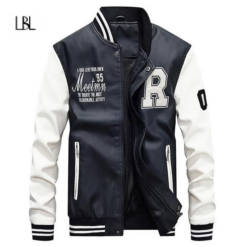 PU Leather Bomber Jacket Men Fashion Thick Streetwear Male Faux Fur Fleece Patchwork Men's Outerwear Coat jaqueta masculin 2018