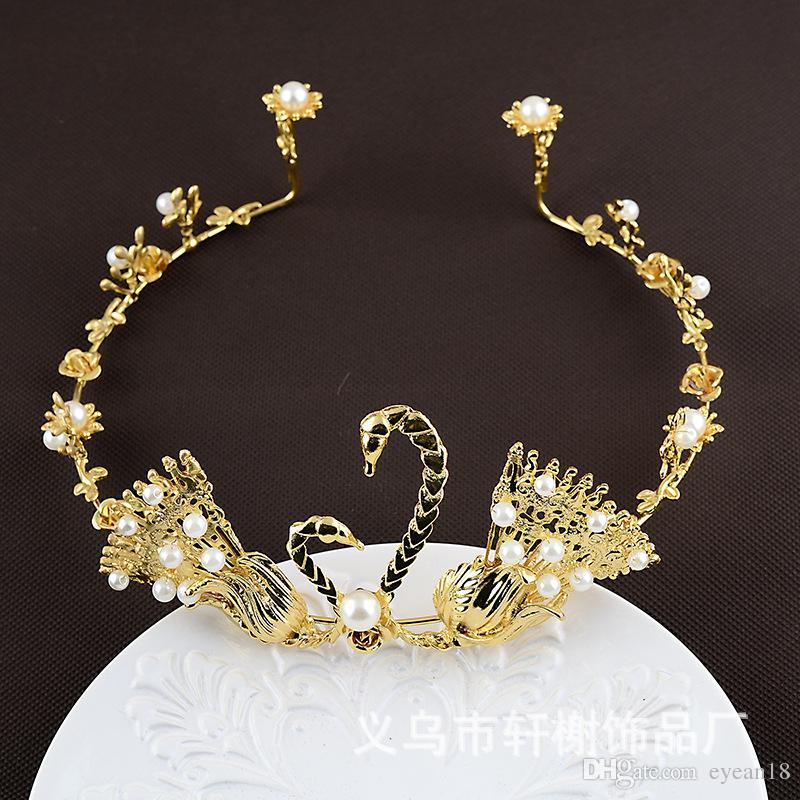 Cisne perla joyería nupcial hecha a mano tiara accesorios para el cabello corona de pastel de plata de oro cumpleaños de la boda