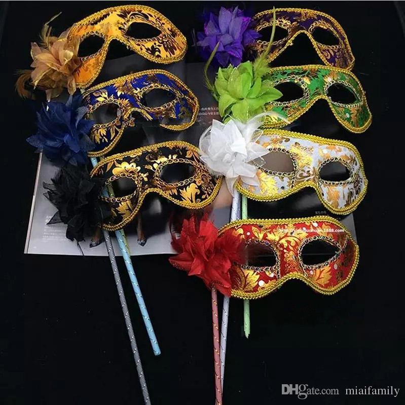 Venetian Half face máscara de la flor Masquerade Party on stick Máscara Sexy Halloween navidad baile de la boda Party Mask supplies