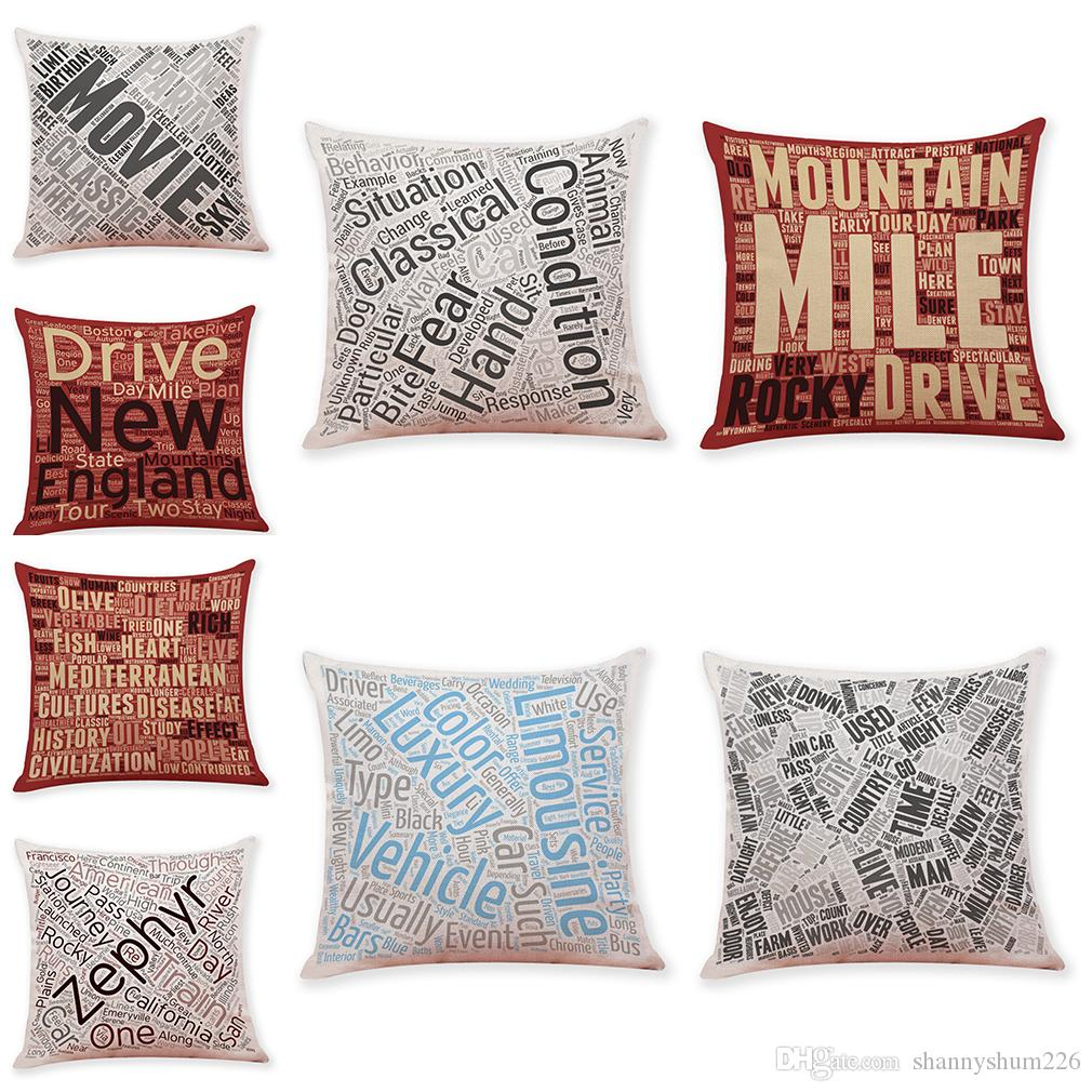 Novelty Quotes and Sayings Linen Cushion Covers Home Office Sofa Square Pillow Case Decorative Pillow Covers Without Insert (18*18Inch)