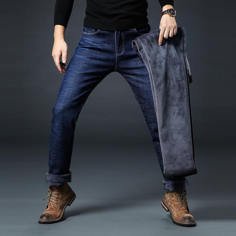 Fleece Winter Men Jeans Classic New Casual High Stretch Black Warm Cotton Plaid Straight Slim Skinny Fit Zipper Denim Pants Male
