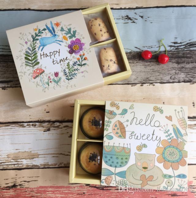 Confezione regalo serie animali foresta Confezione scatola con torta griglia incrociata Confezione regalo con stampa ape e orso 14,5 * 14,5 * 5cm