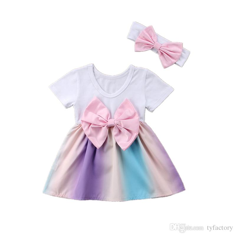 Newborn baby girl rainbow dress bowknot TuTu dresses with headband 2pcs set outfit princess dress costumes baby girls clothes kid clothing