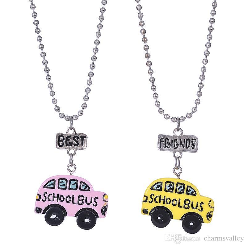 2PCs/set Kids Friendship School Bus Stereo Imitation Car BFF Necklace For Children Best Friends Necklace Jewelry Gift YYZ08